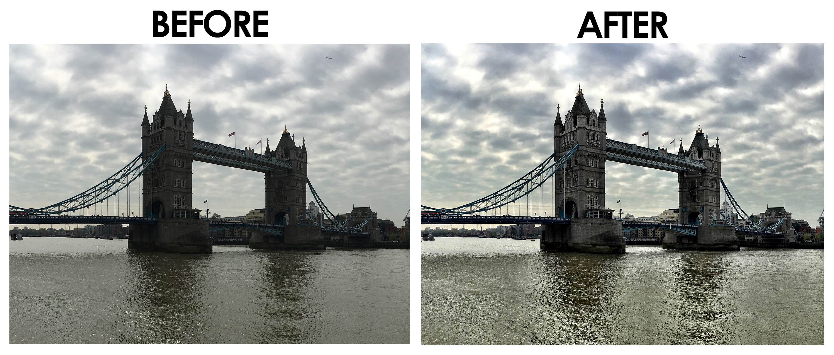 Tower Bridge Before and After - Camera+ Photo App