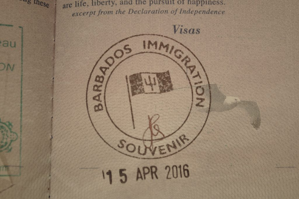 Barbados Passport Stamp 2016