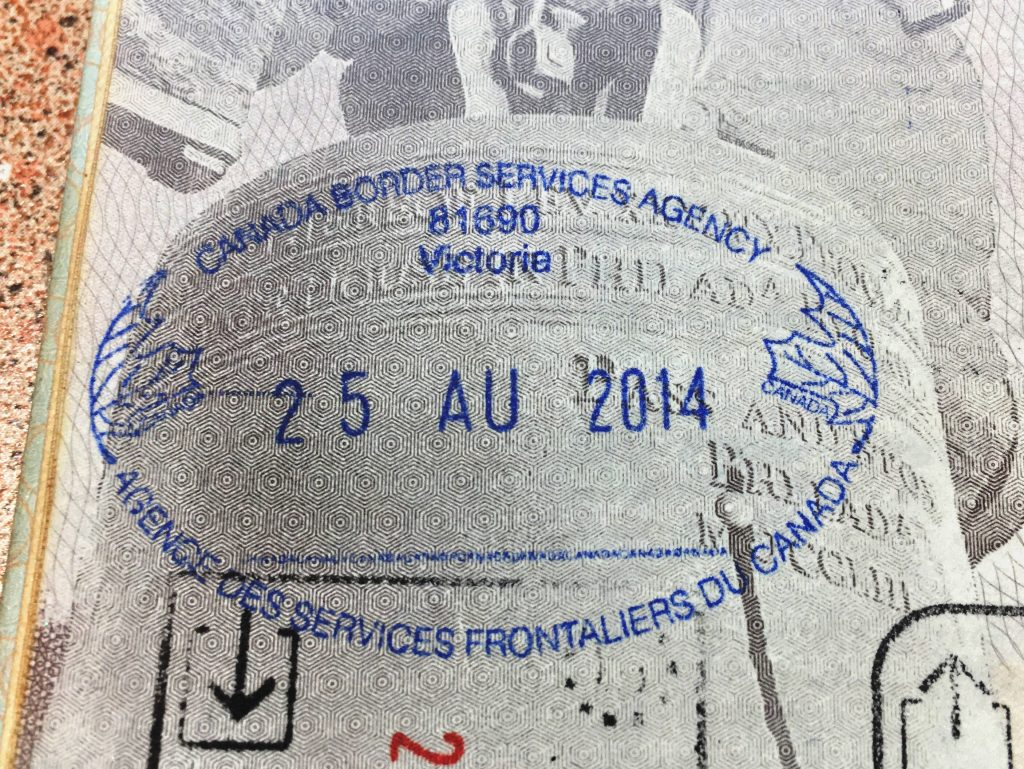 Victoria Canada Passport Stamp