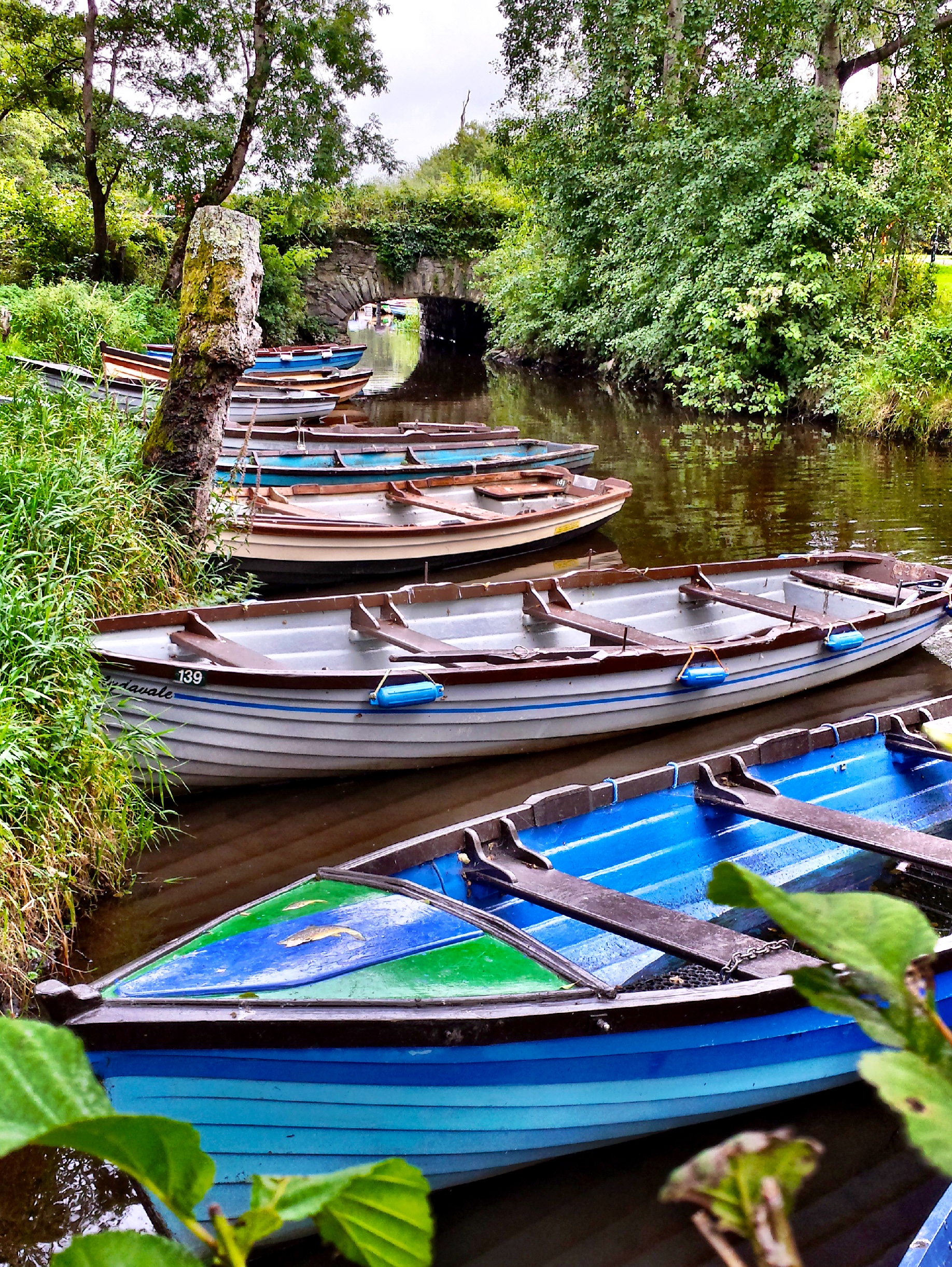 Boats at Ross Castle in Killarney, Ireland