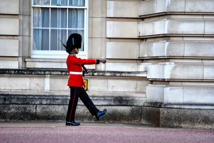 Guard at London's Buckingham Palace