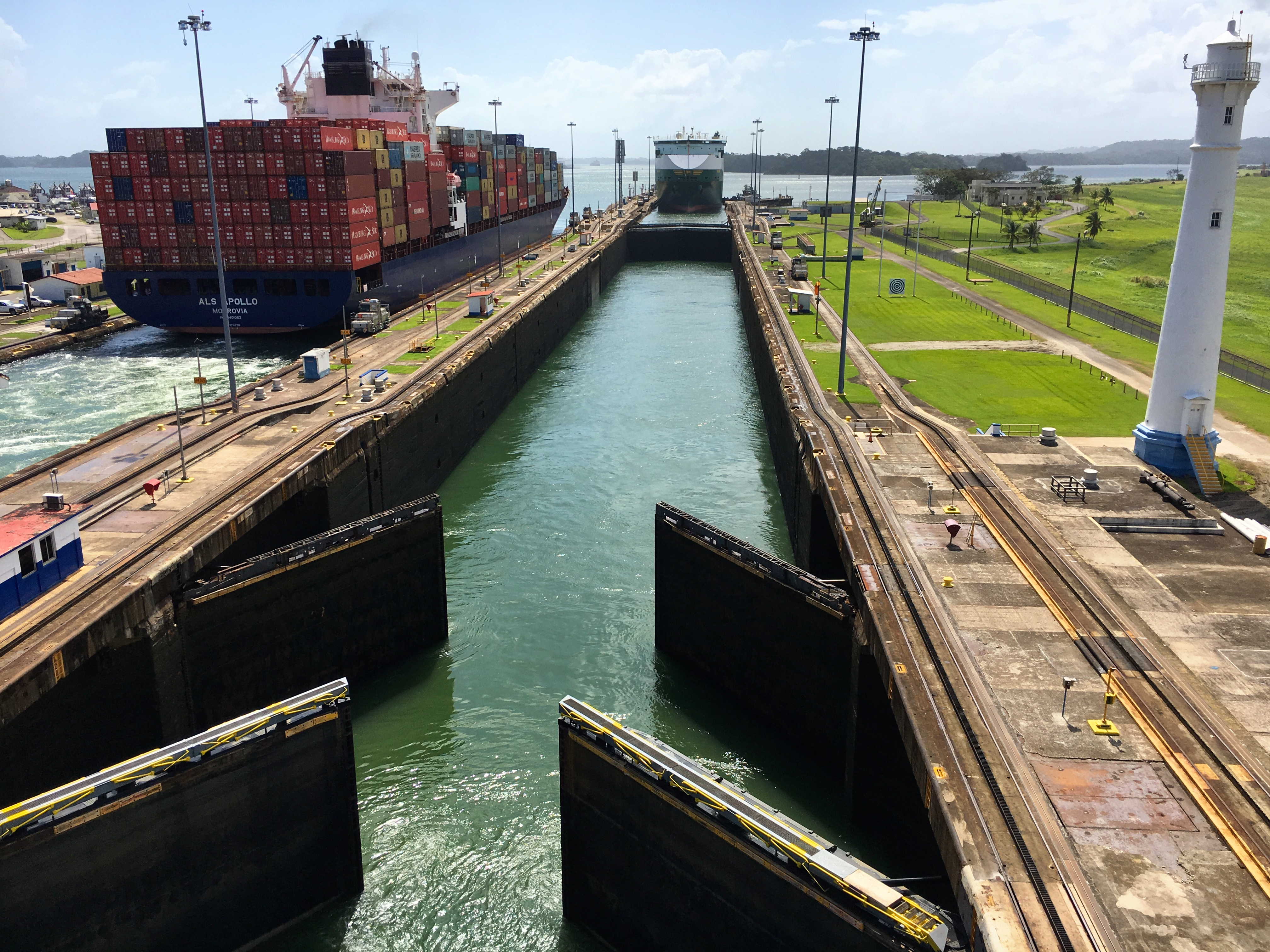 Going through the Gatun Locks in the Panama Canal