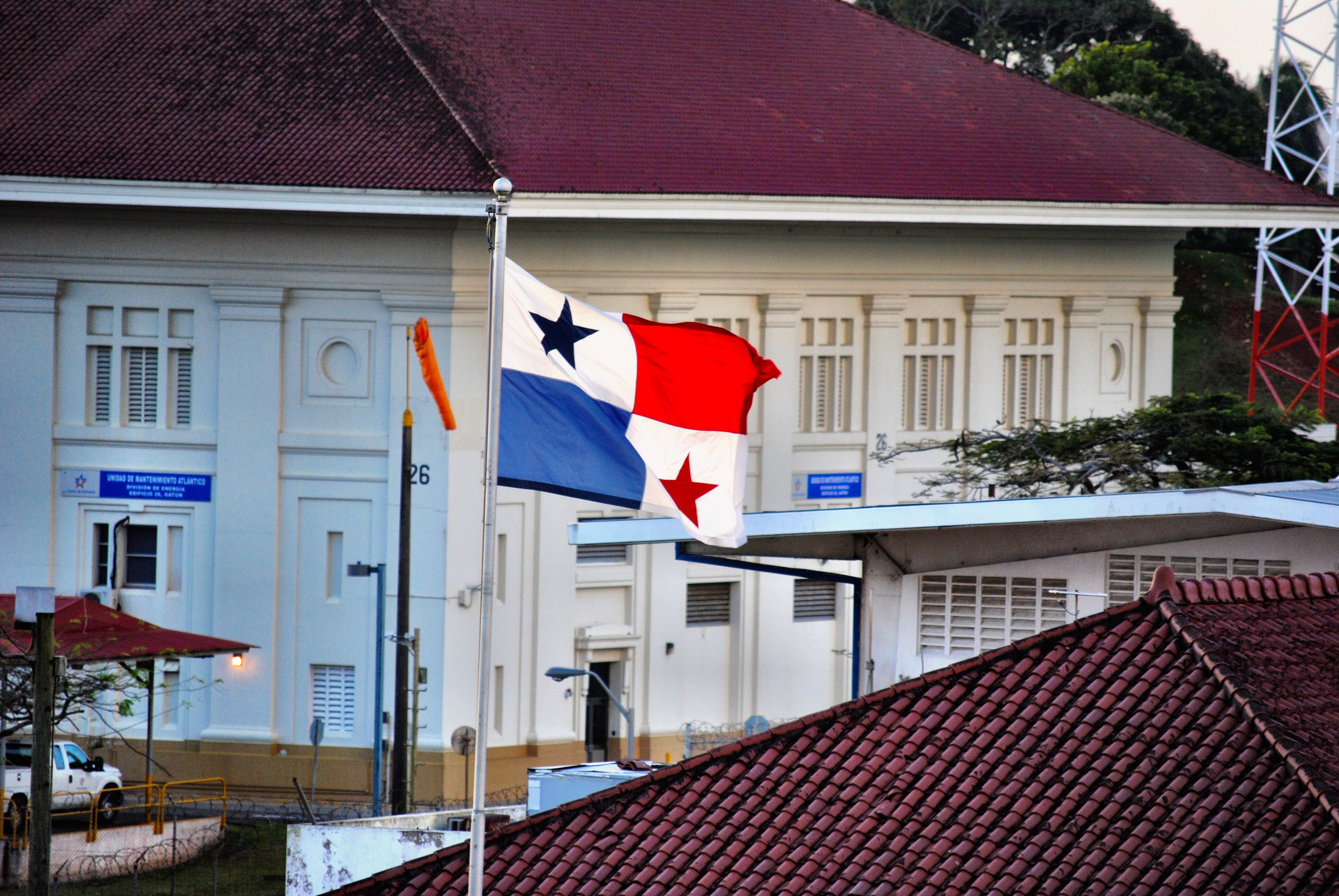 Panama flag at the Panama Canal Gatun Locks