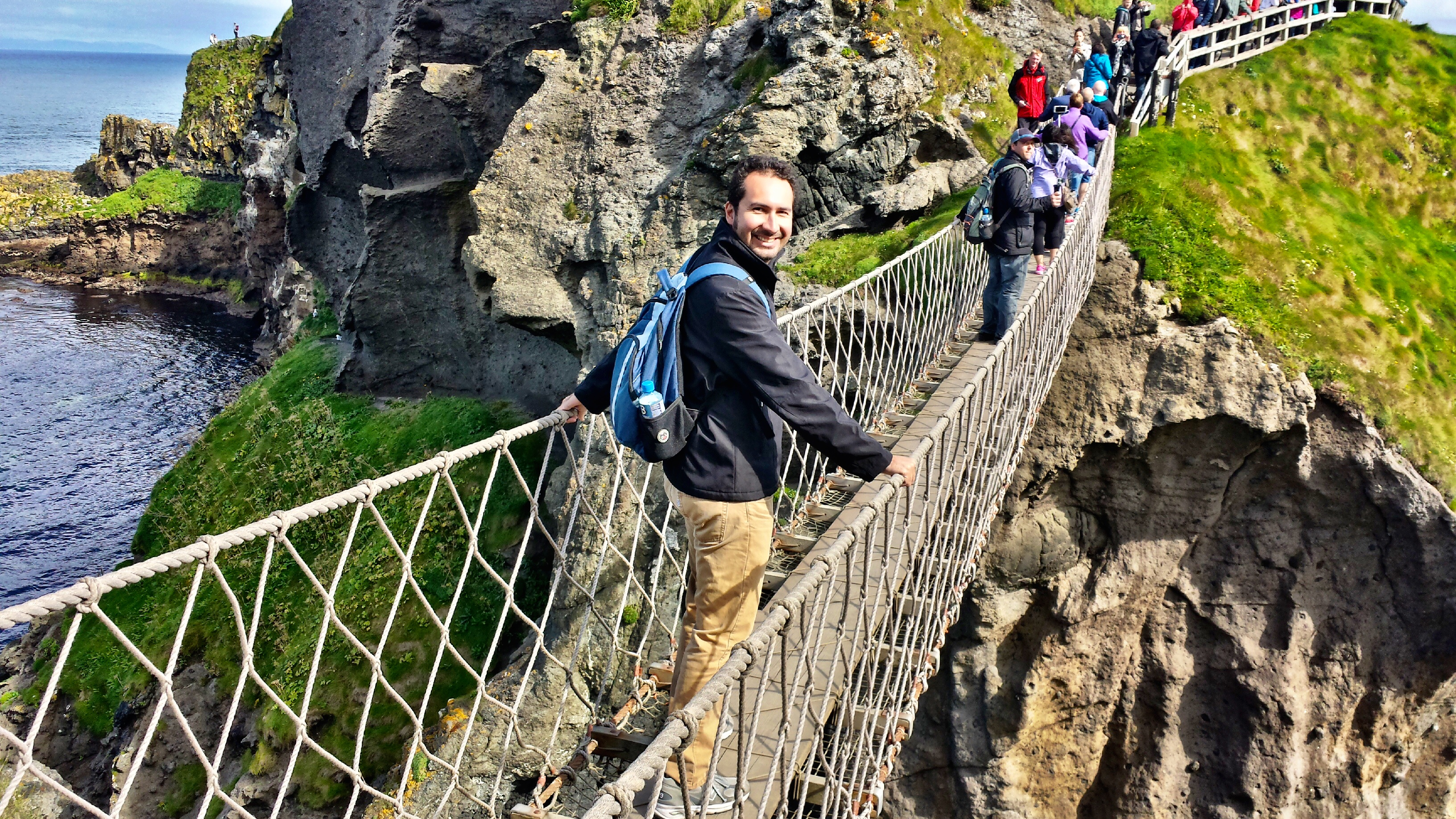 Walking across the Carrick-a-Rede rope bridge