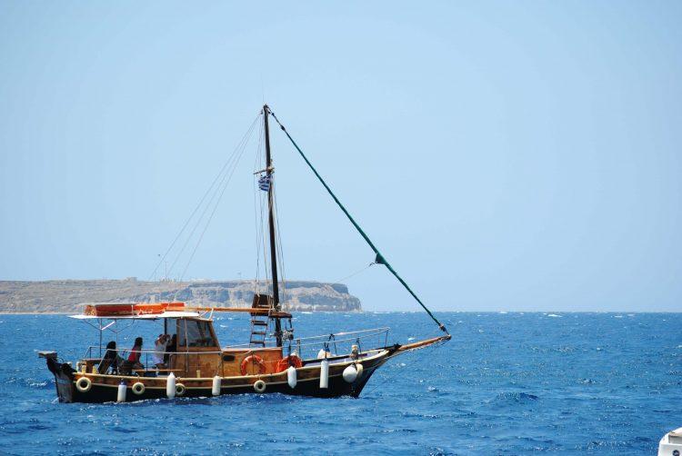 Boat off the coast of Oia, Santorini