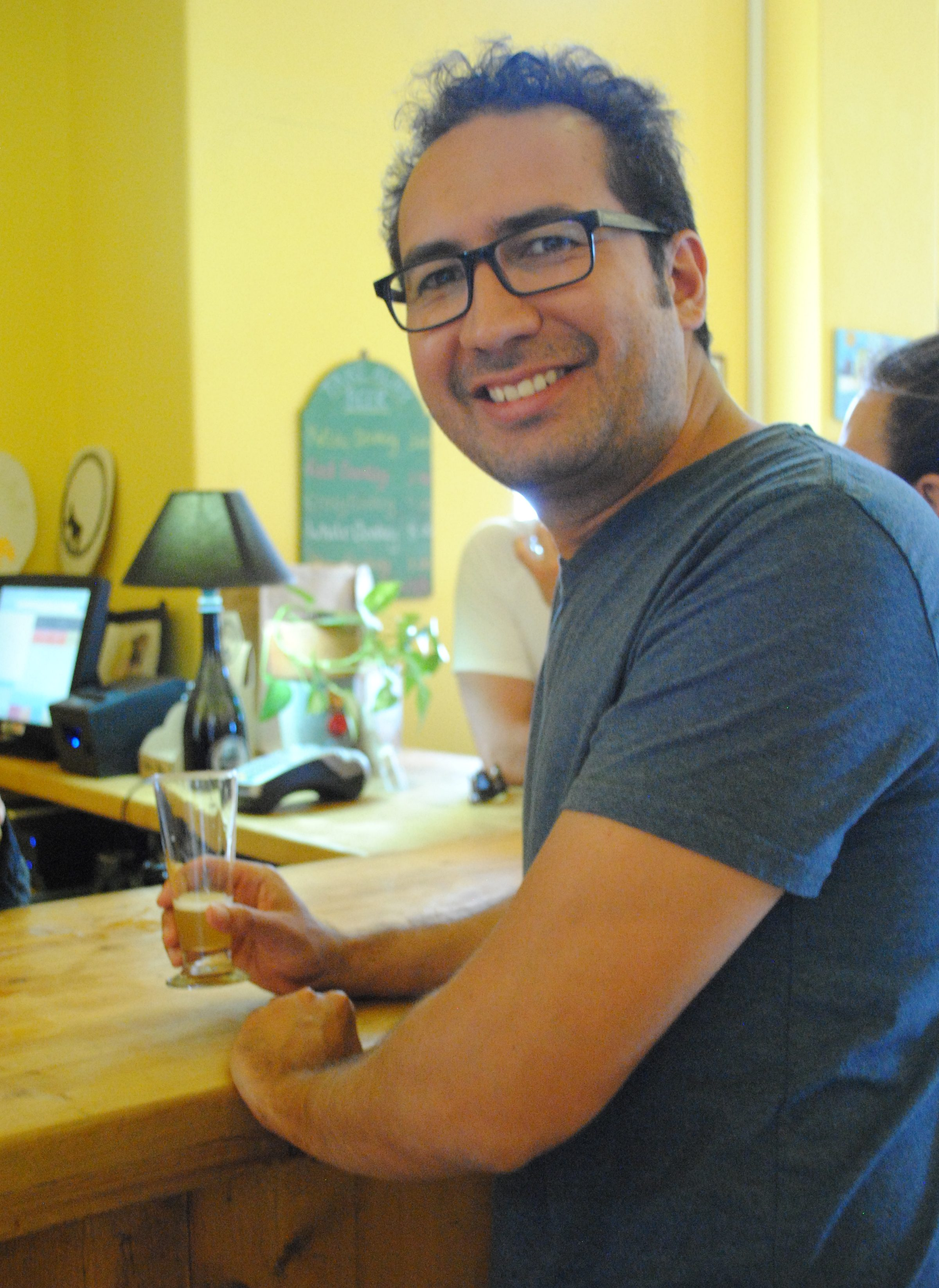 Tasting beer at Santorini Brewing Company