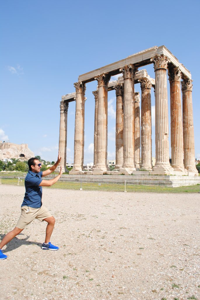 Having some fun at the Temple of Olympian Zeus