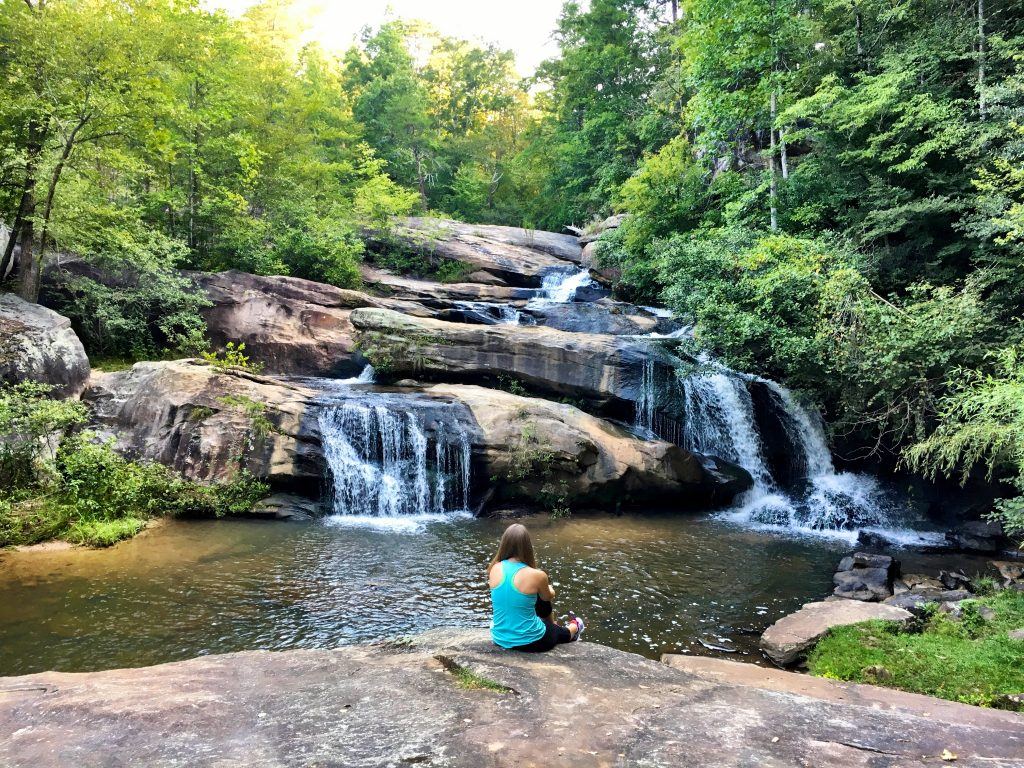 Enjoy the waterfall view at Chau Ram County Park in South Carolina