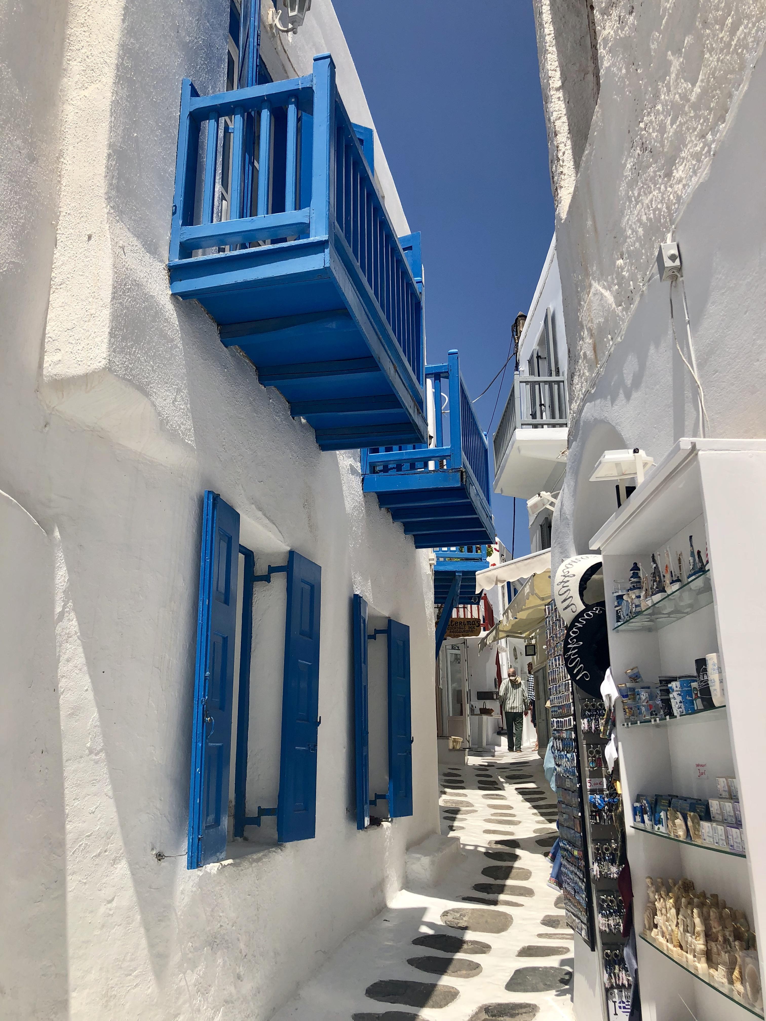 Wandering the streets of Little Venice, Mykonos