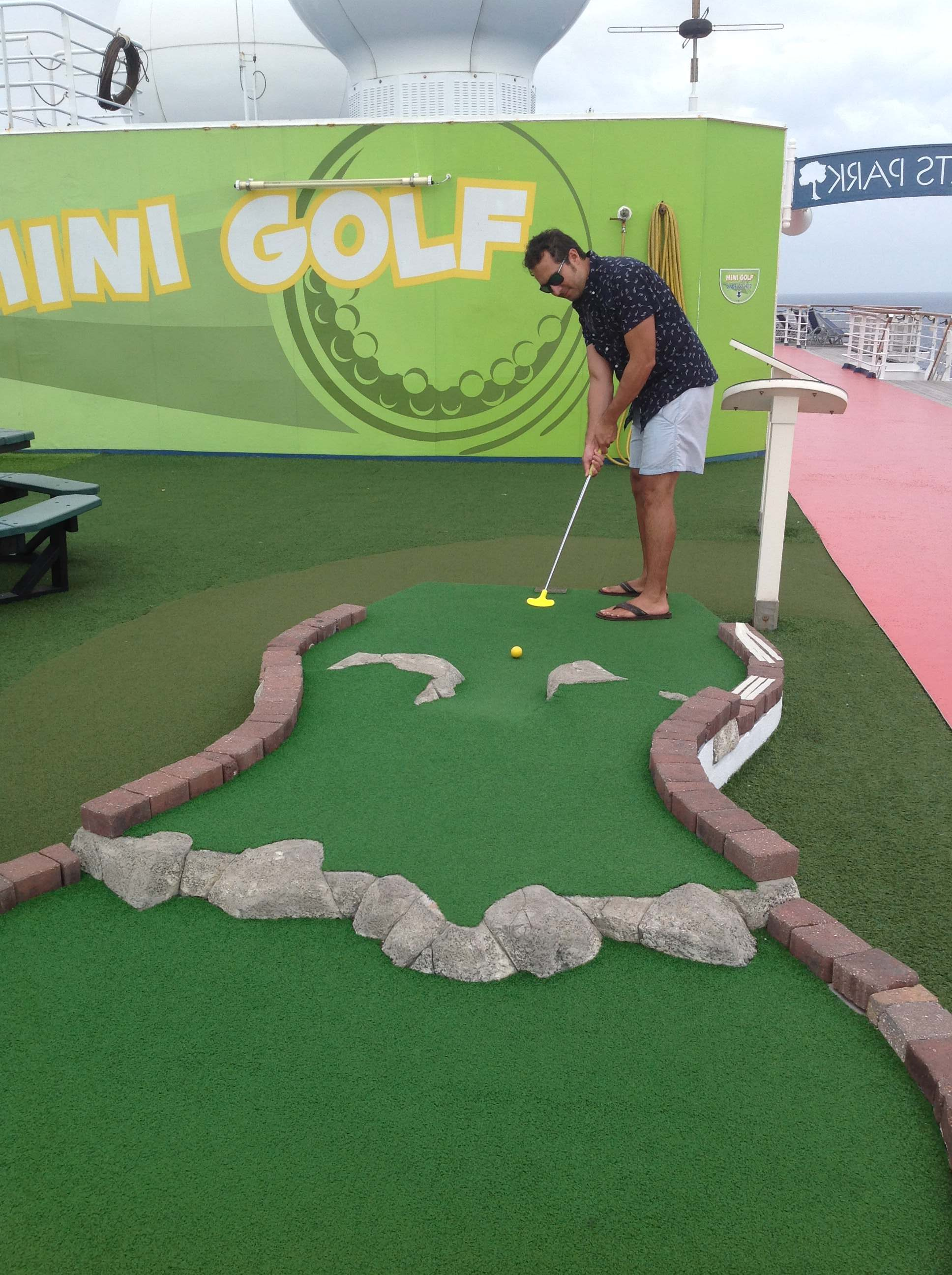 Play mini golf on a cruise ship