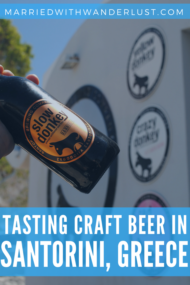 Tasting craft beer in Santorini, Greece