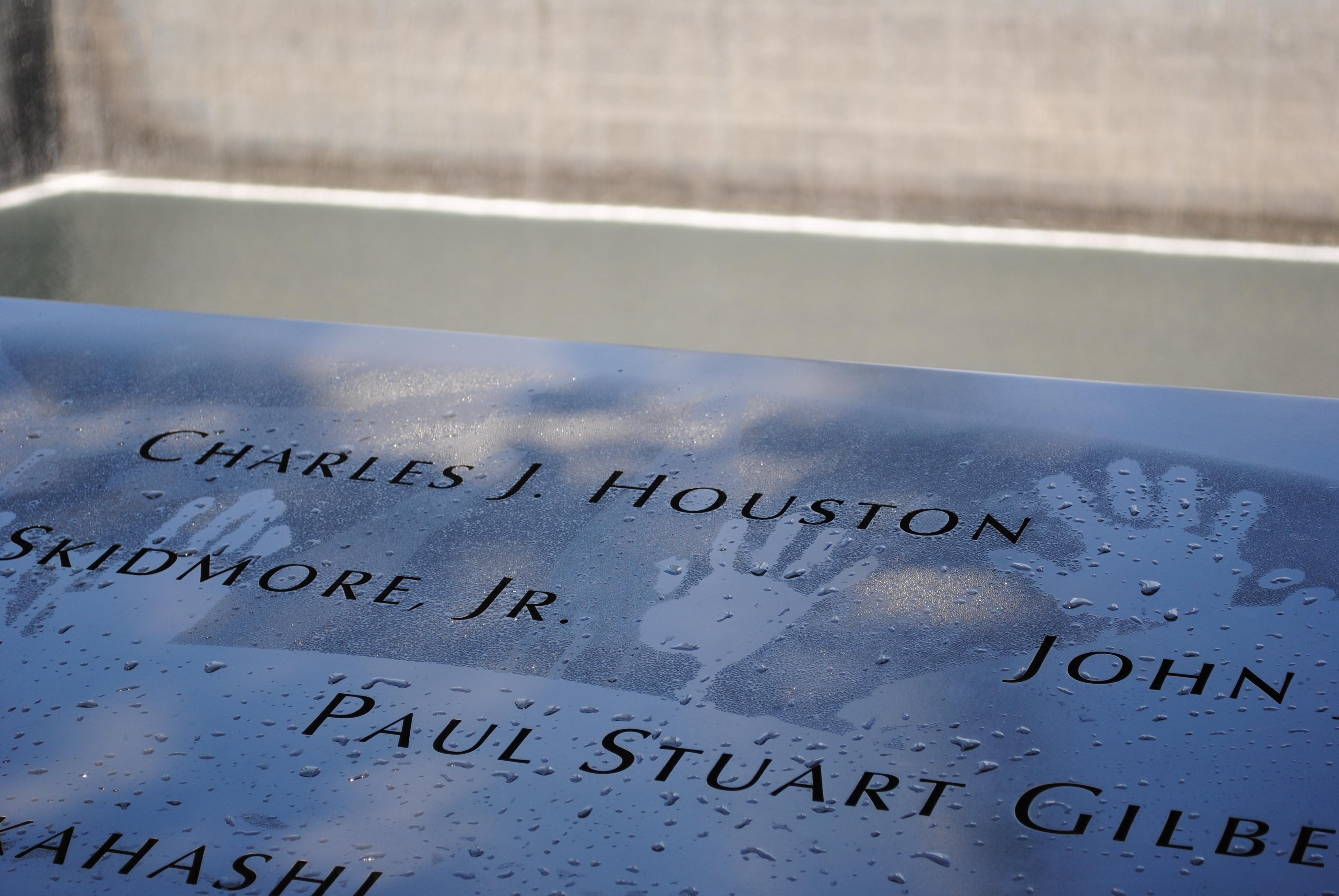Handprints on the 9/11 Memorial