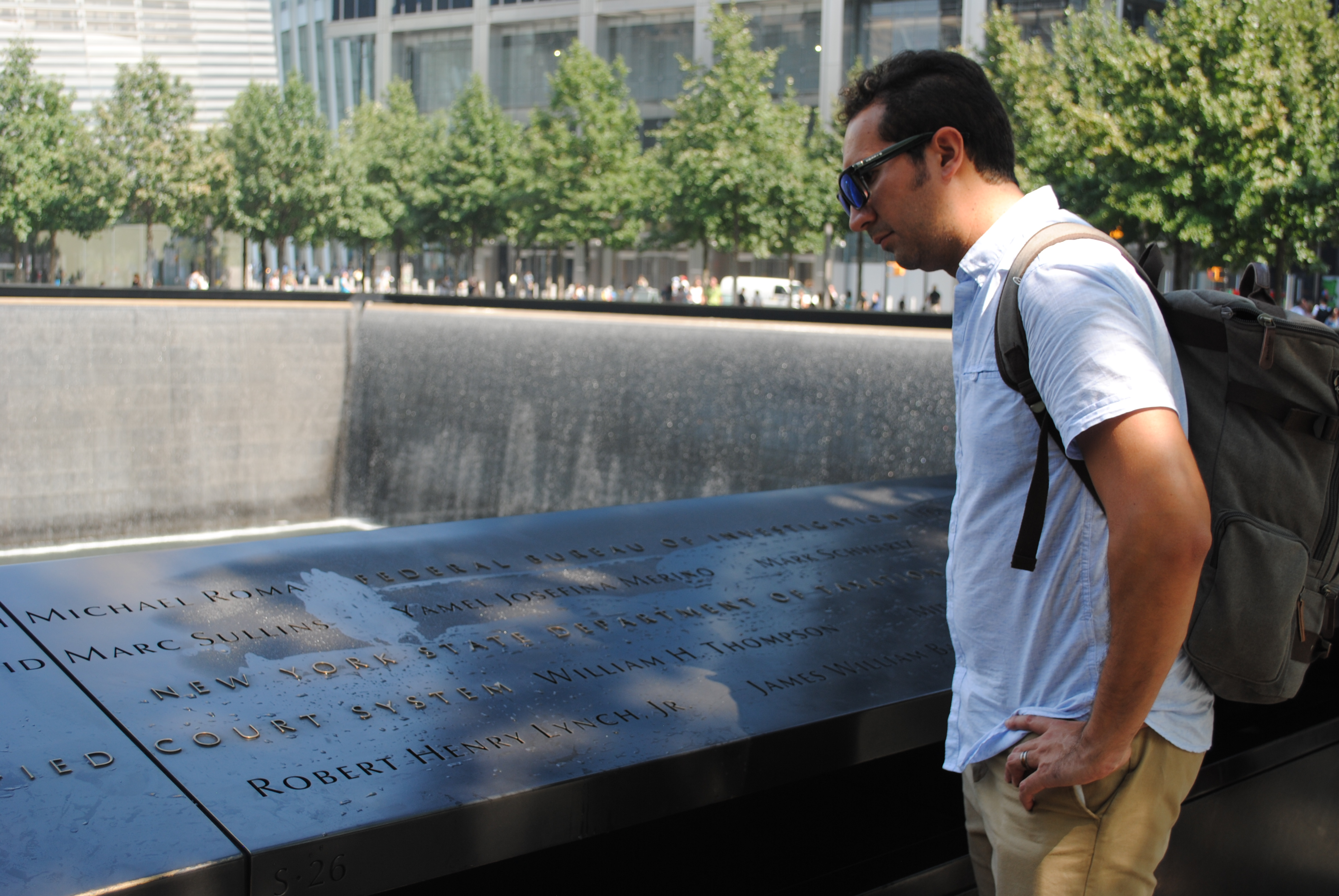 Reading names of the victims at the 9/11 Memorial