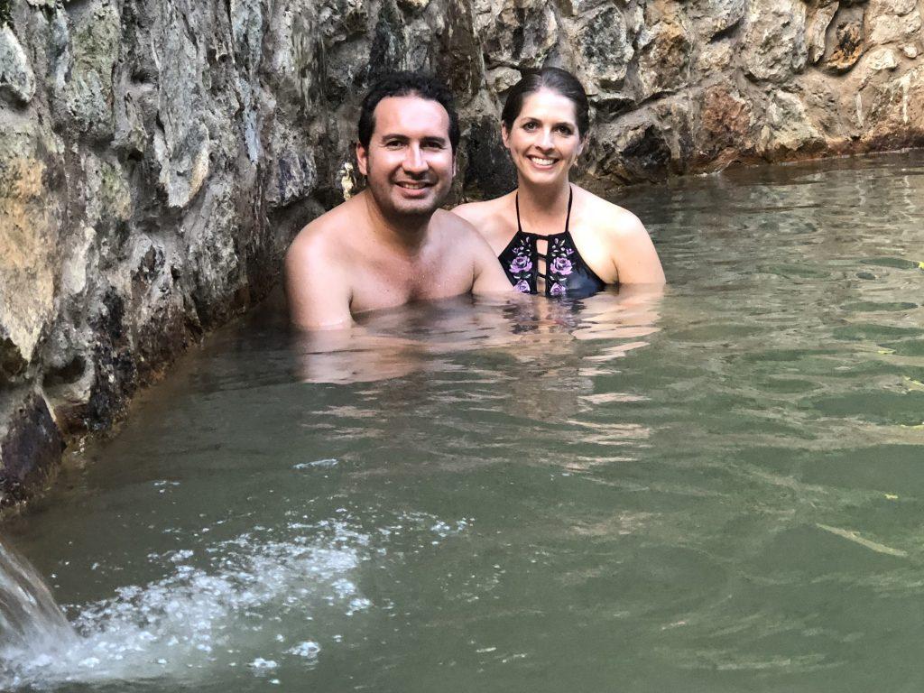 Relaxing in Caldeira Velha hot springs, Azores