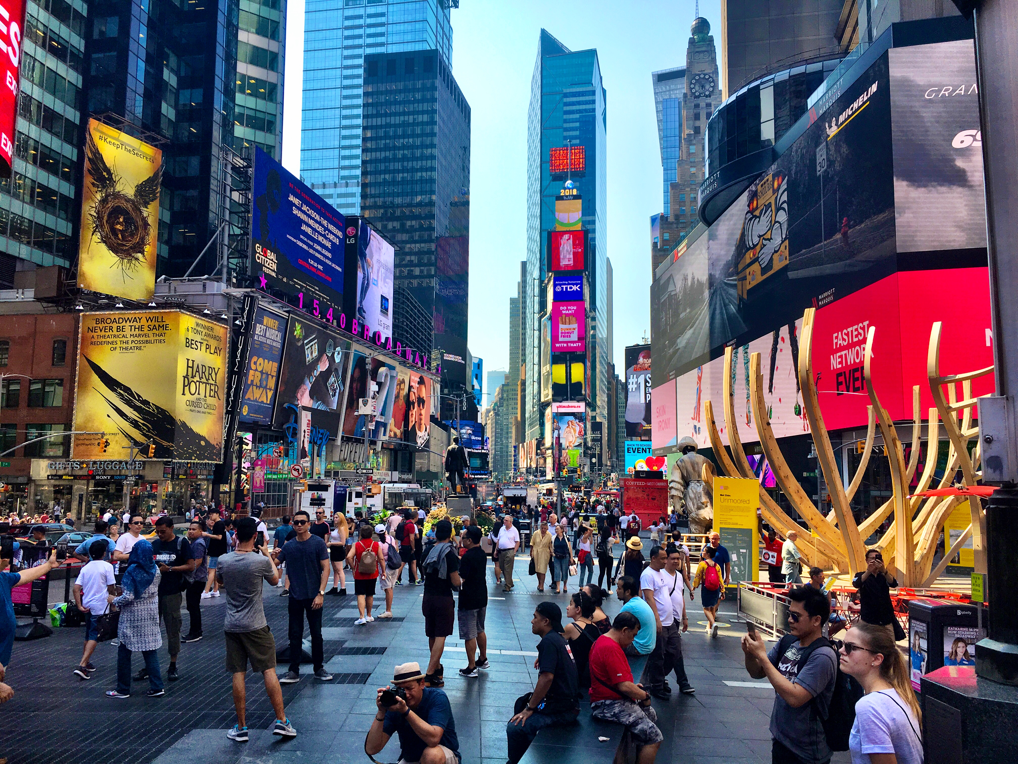 Visit Times Square on a layover in New York City