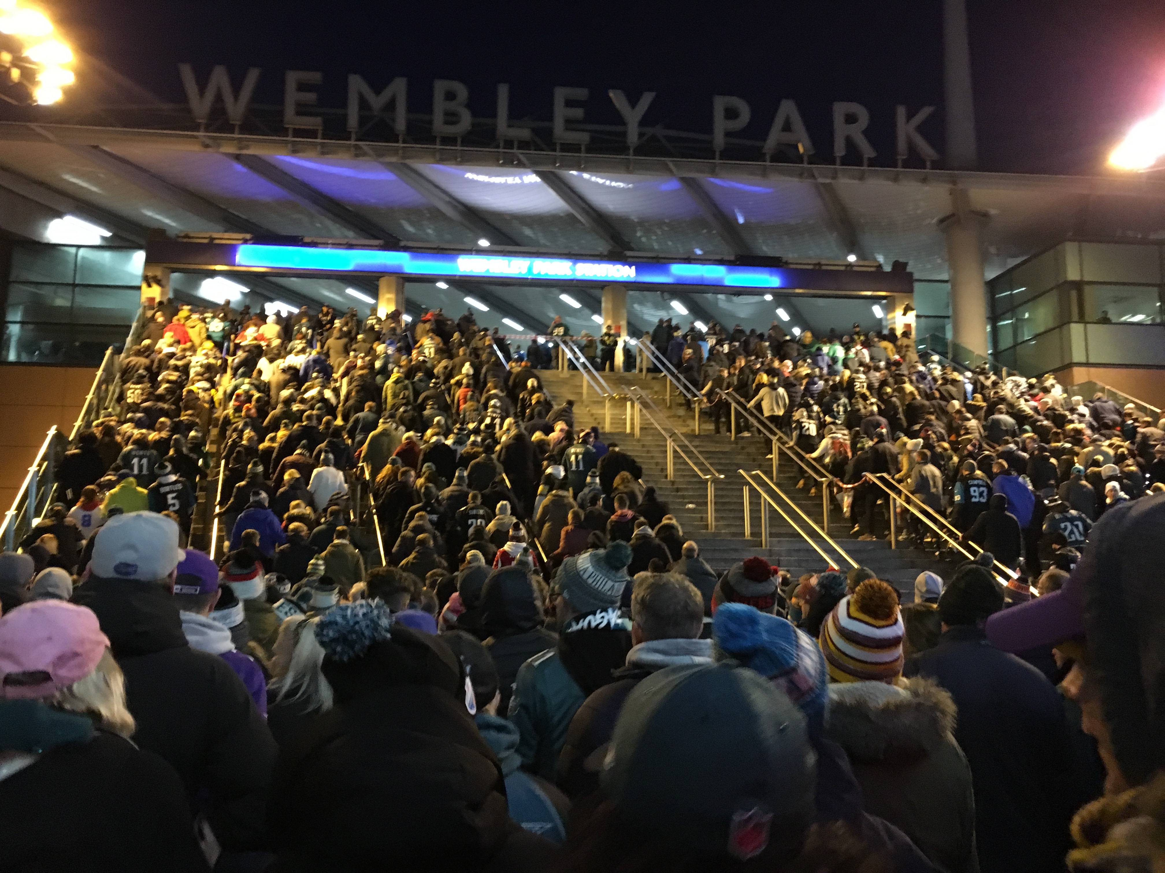 Lines to the underground at Wembley park after an NFL game