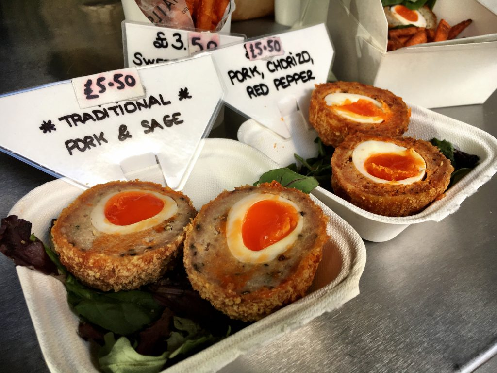 Try scotch eggs in London