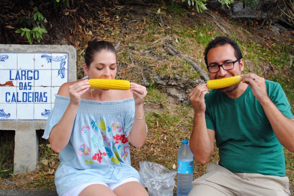 Eating corn in Furnas