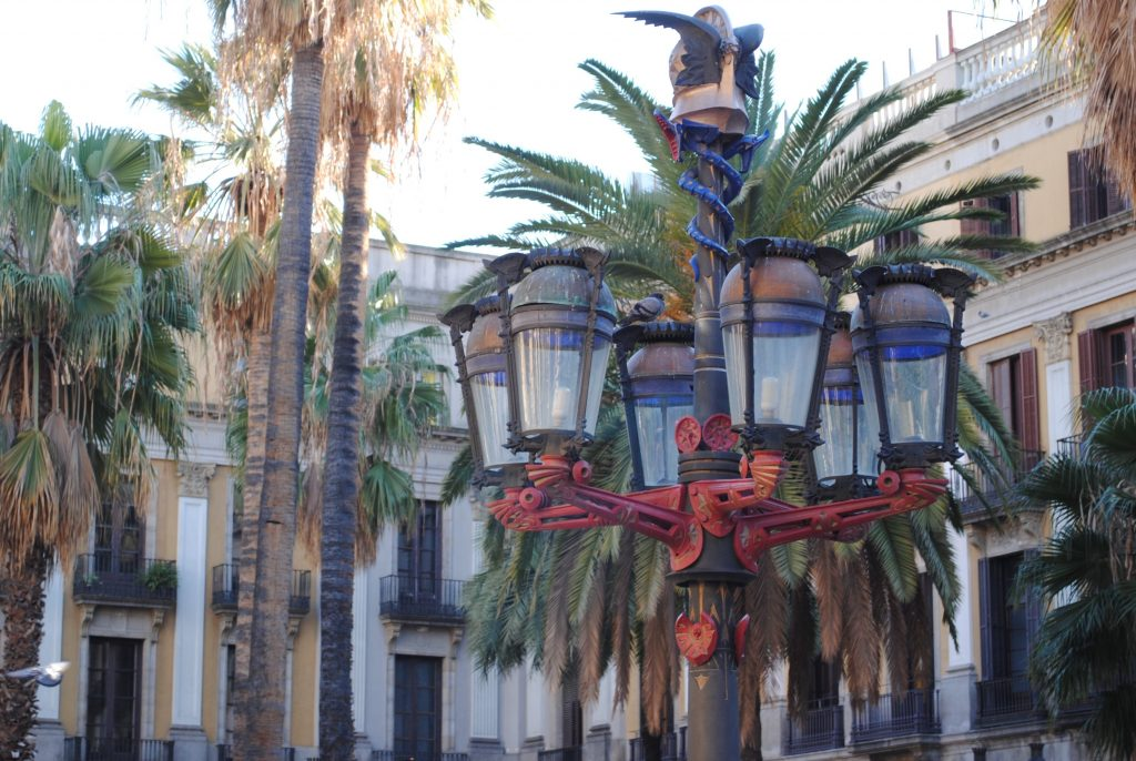 Plaza Real lampposts designed by Gaudi