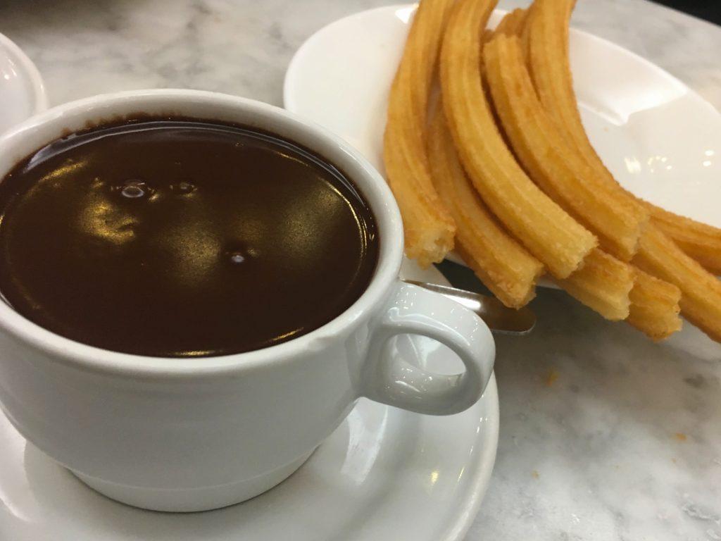 Chocolate and churros at Chocolateria San Gines, Madrid