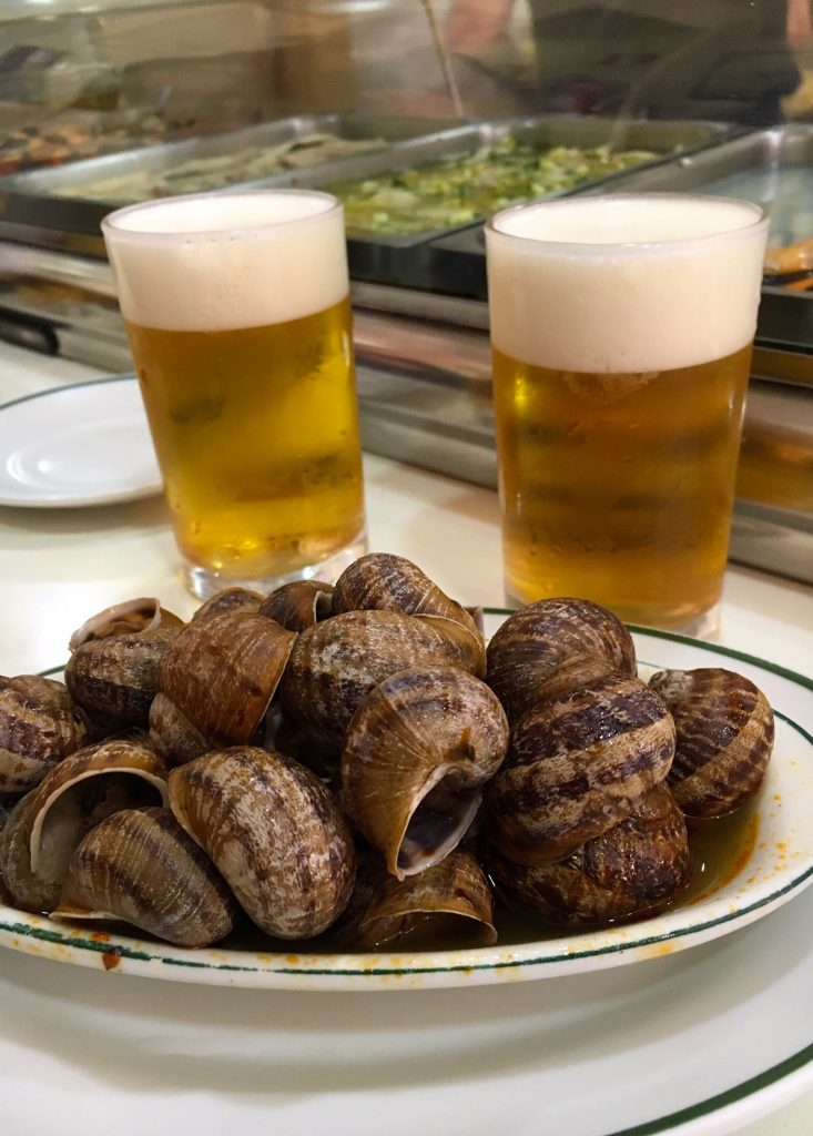 Eat snails in Madrid, Spain at Los Caracoles