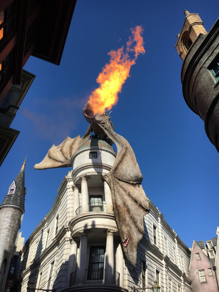 Watch the dragon breathe fire at the Wizarding World of Harry Potter