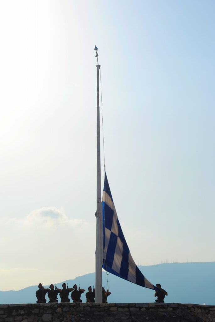 Raising the Greek flag at the Acropolis