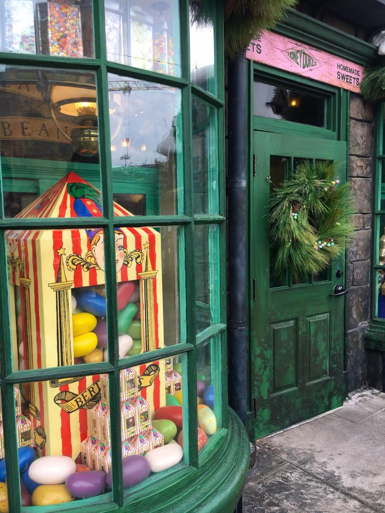 Window displays at the Wizarding World of Harry Potter