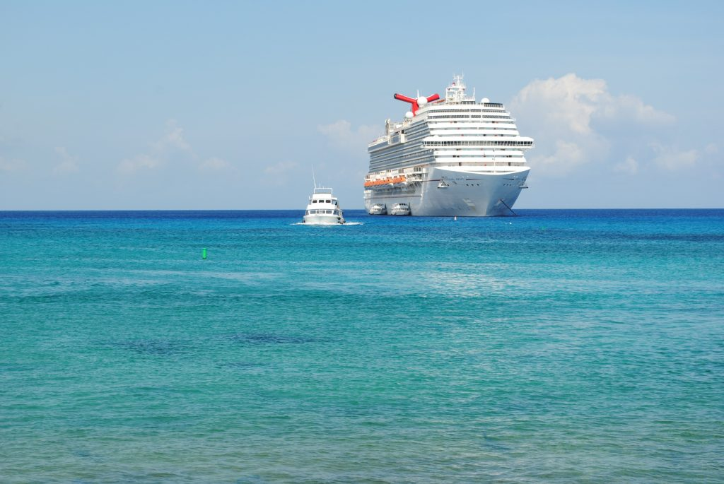 Carnival cruise ship in port in Georgetown, Grand Cayman