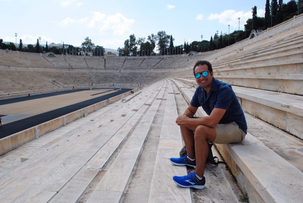 Sit in the stands at the Athens Olympic stadium