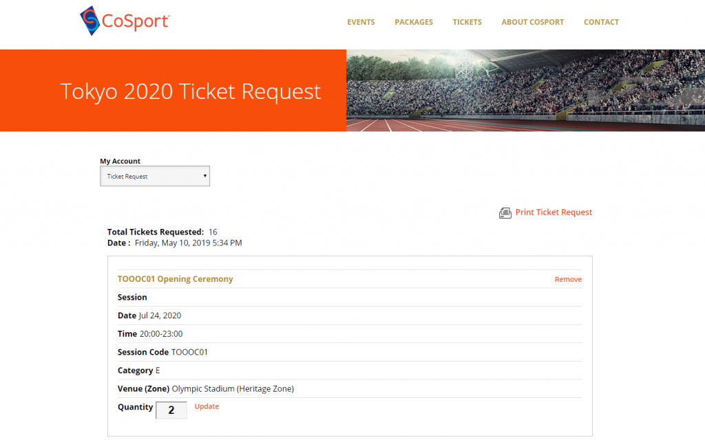 CoSport Olympics ticket request submission page
