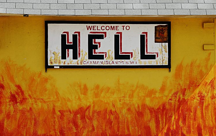 Welcome to Hell sign, Grand Cayman