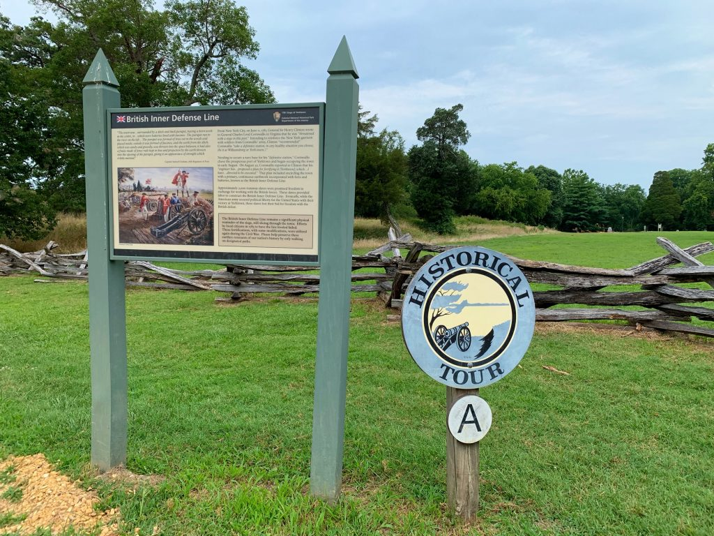 British Inner Defense Line, the first stop on the Yorktown Battlefield tour