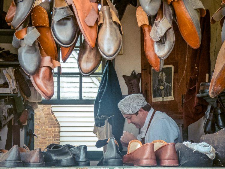 Cobbler in Colonial Williamsburg
