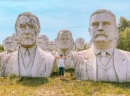 Face-To-Face With Giant, Crumbling Presidents Head Statues