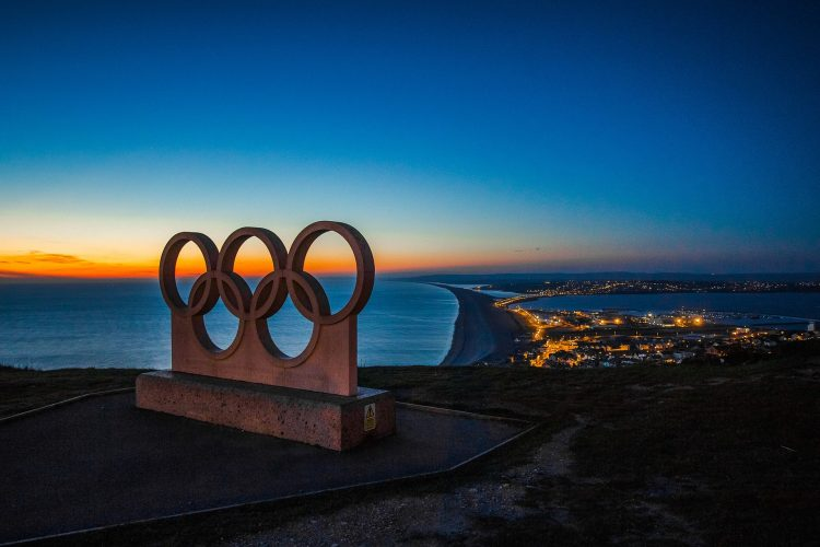 Olympic rings statue in Portland, United Kingdom