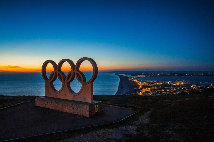 Olympic rings statue in Portland, United Kingdom