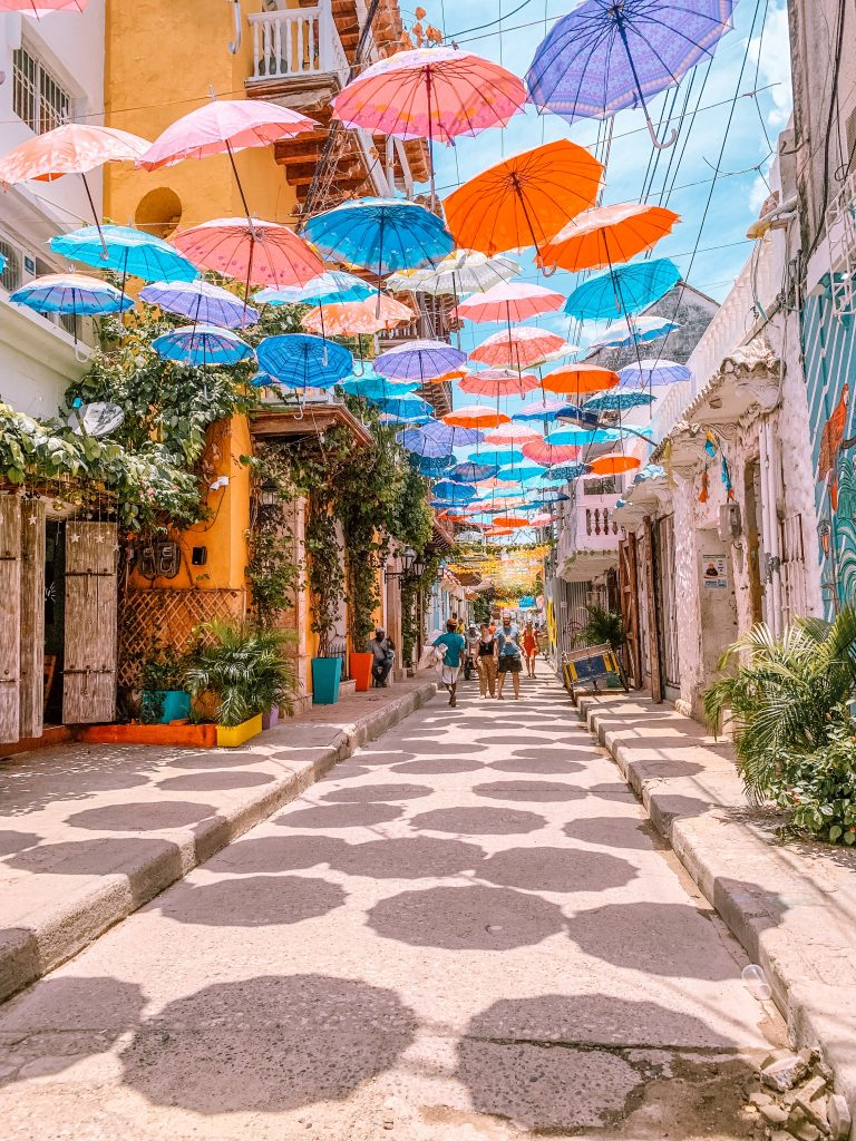 Umbrella-covered street in Getsemani (Cartagena, Colombia)