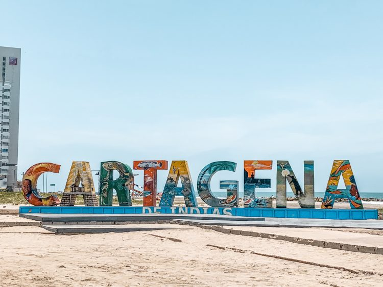 Cartagena sign on the beach