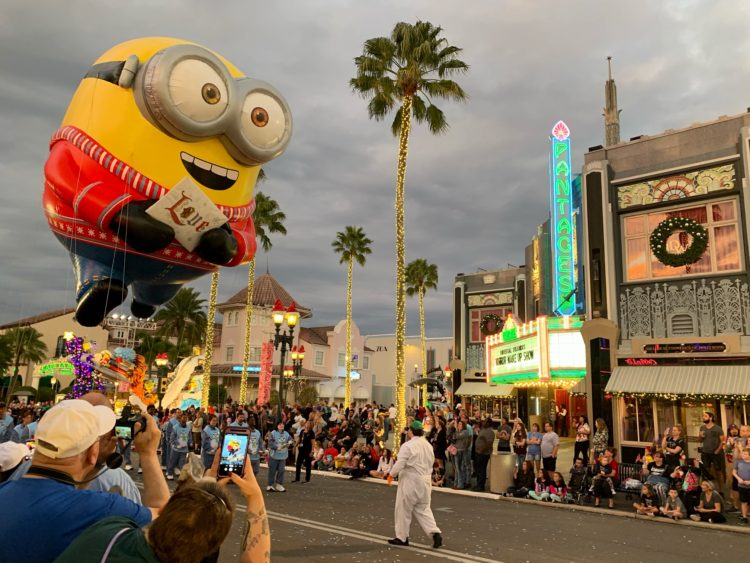 Minion balloon in the Universal Holiday Parade featuring Macy's