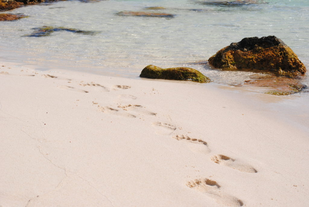 Footprints in the sand in Cozumel